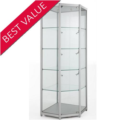 Corner Tower Glass Shop Display Showcase 650W x 1980H x 650D