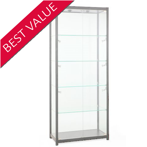 Wide Tower Glass Shop Display Showcase 800W x 1980H x 400D