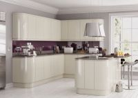 Lucente Cream High Gloss Handleless Complete Kitchen Cabinets
