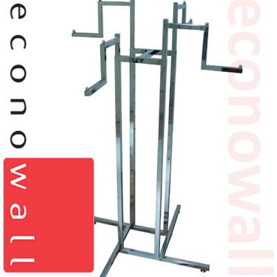 4 Arm Garment Clothes Rail With Stepped Arms