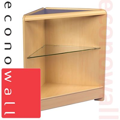 Open Corner Shop Counter With Glass Shelf