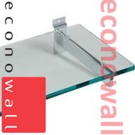 600mm x 250mm Glass Shelves With Slatwall Brackets