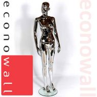 Female Shop Display Mannequin With Abstract Style Head - Chrome Finish