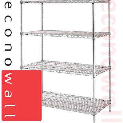 1220H x 1220W x 355D Chrome Wire Shop Shelving Unit