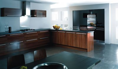 Reflections High Gloss Walnut Complete Kitchen Cabinets